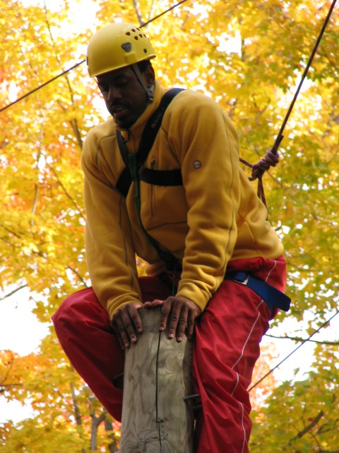 A climber is perched on the top of a telephone pole.